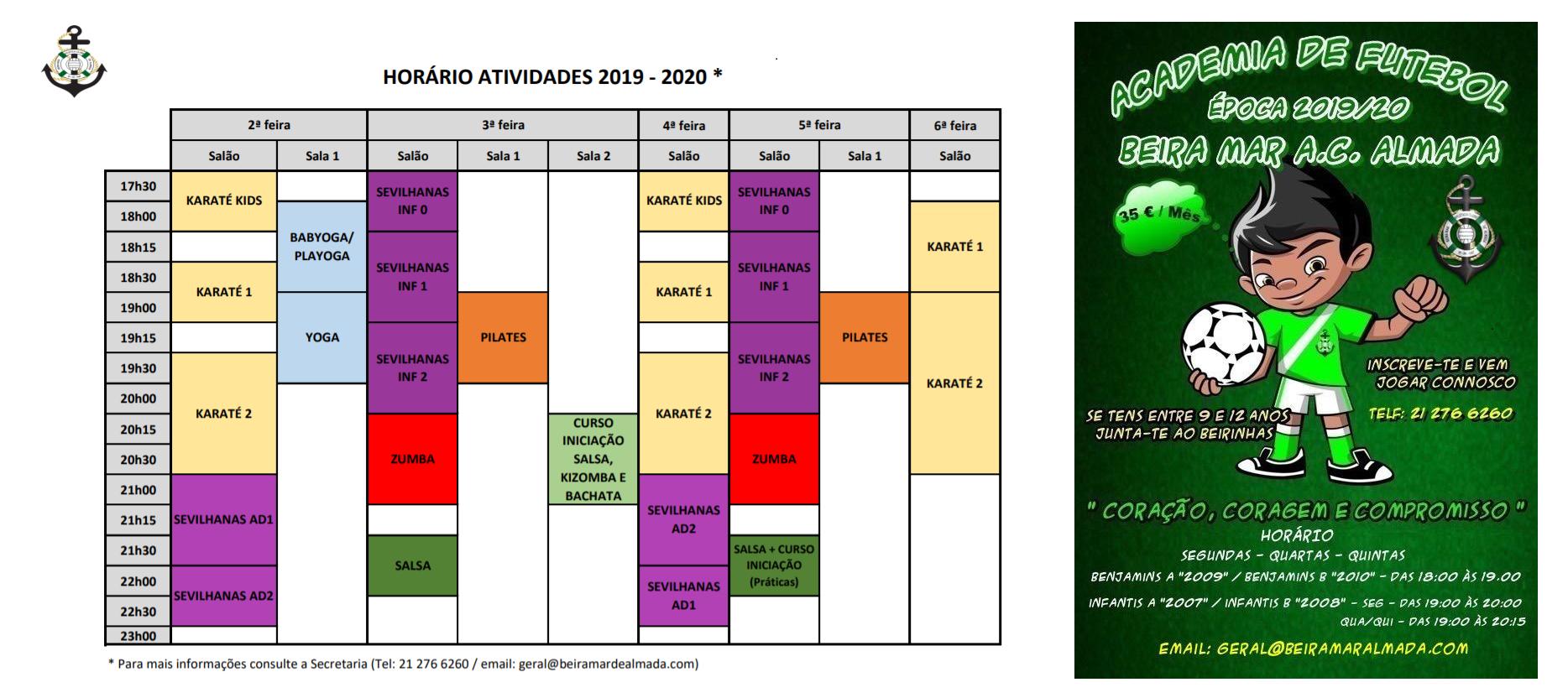 Horário actividades 2019-2020